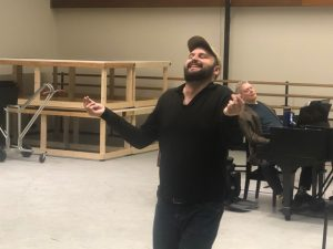 Pictured: William Socolof finding his inner Tevye in that Brecht-Eisler song. Photo by Jack Kay.